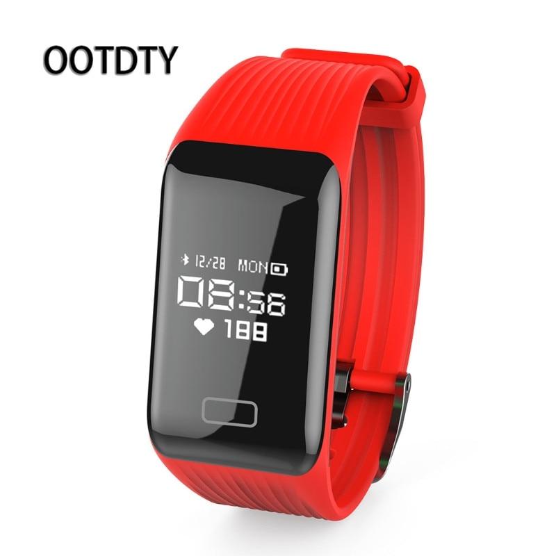 OOTDTY Smart Wristband Waterproof Fitness Tracker Smart Bracelet Band Compatible Heart Rate Monitor