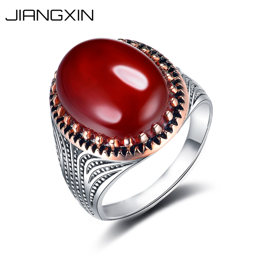 JIANGXIN 925 Sterling Silver Red Onyx Carnelian Ring Artisan Handmade White-gold Rose-gold Fine Jewelry for both Men & WomenJIANGXIN 925 Sterling Silver Red Onyx Carnelian Ring Artisan Handmade White-gold Rose-gold Fine Jewelry for both Men & Women