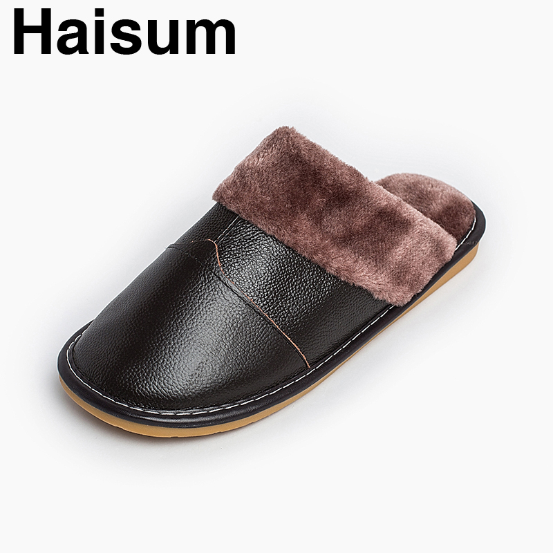 Men 's Slippers Winter Genuine Leather Home Indoor Non - Slip Thermal Slippers 2018 New Hot Haisum H-8002 men s slippers winter pu leather home indoor non slip thermal slippers 2018 new hot haisum h 8007