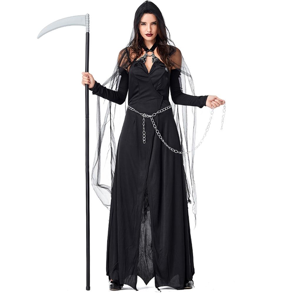 Umorden Women Lady Death Grim Reaper Scary Ghost Demon Costume Halloween Purim Party Cosplay Dress
