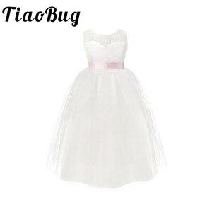 Image 1 - TiaoBug dziecięce dziewczęce białe Backless kwiatowe sukienki dla dziewczynek urodziny księżniczka sukienka tiulowa sukienka na konkurs piękności 2 12