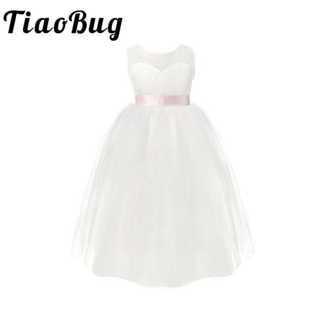 TiaoBug dziecięce dziewczęce białe Backless kwiatowe sukienki dla dziewczynek urodziny księżniczka sukienka tiulowa sukienka na konkurs piękności 2 12