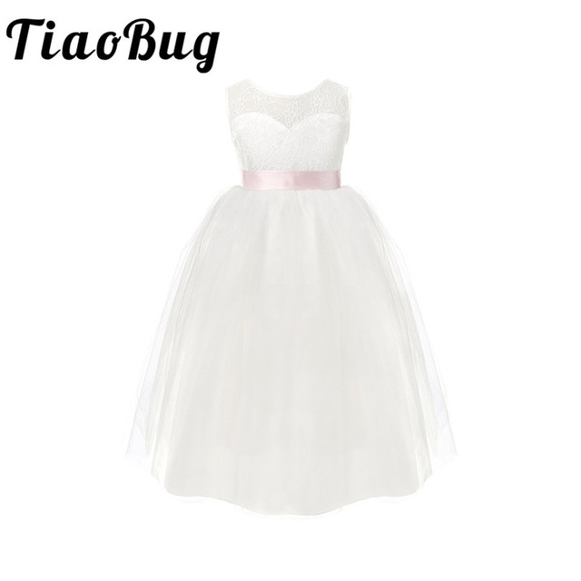 TiaoBug Çocuk Kız Beyaz Backless Çiçek Kız Elbise Doğum Günü Partisi Prenses Elbise Tül Pageant Elbise 2 12