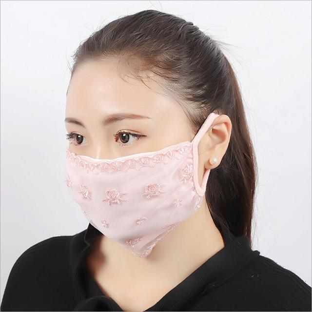 Summer Spring Lace Breathable face mask sun protective Shade anti-dust mouth mask cotton Mouth-muffle Mask Flu Face masks 1