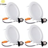 4PCS PACK Triac Dimmable 11W Round LED Panel Down Light Aluminum E26 LED Downlight Warm White