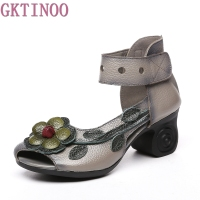 2017 Women Thick Heels Sandals Flower Ethnic Style Summer Handmade Genuine Leather Shoes Personalized Women Sandal