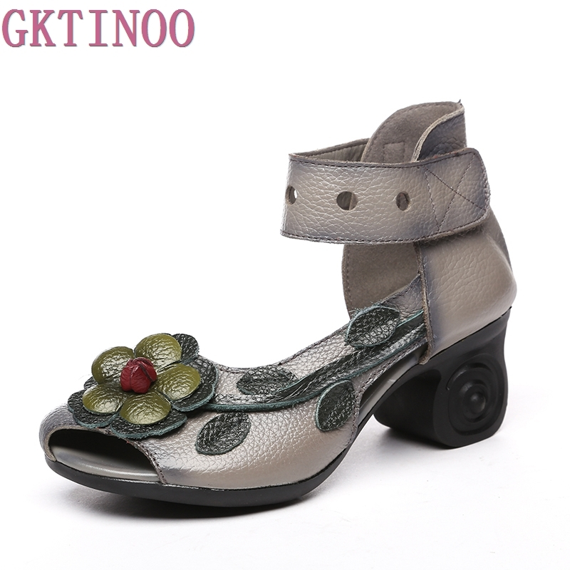 GKTINOO 2018 Women Thick Heels Sandals Flower Ethnic Style Summer Handmade Genuine Leather Shoes Personalized Women Sandal