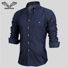 Camisa de Brim Dos Homens Tamanho da europa Nova Moda Camisa Social Masculina Bolso Slim Fit Algodão Homens Vestem Camisas de Manga Longa N1089(China (Mainland))