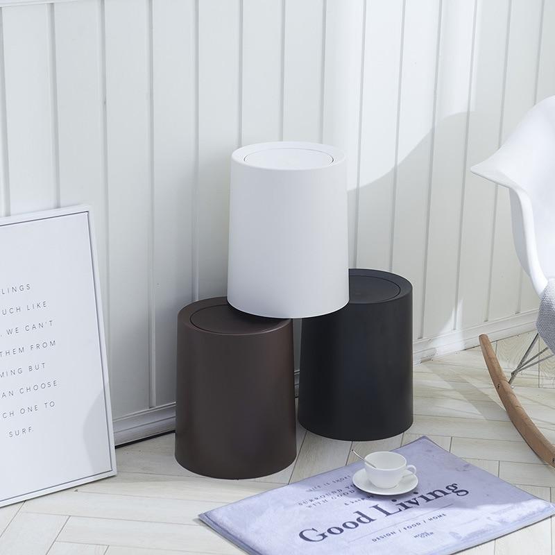 Plastic ABS Flip Lid Trash Can Rubbish Storage Barrels Rubbish Bin For Home Office Kitchen TB Sale