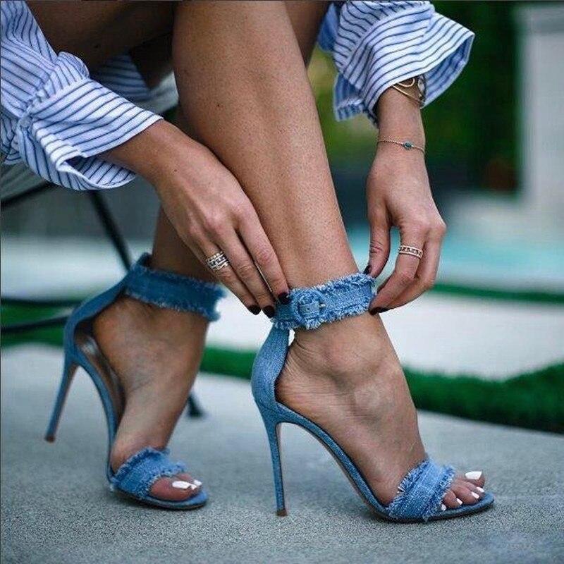 2018 Women Spring Summer Jeans Sandals Girls Denim Ankle Strap High Heels Shoe Sexy Female Trade Sandals Stiletto Wedding Shoes denim zipper hollow worn stiletto womens sandals