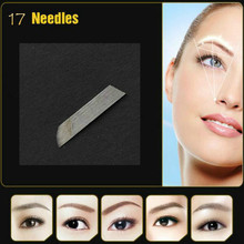 100PCS Lead-free Permanent Makeup Manual Eyebrow Tattoo Bevel Blades17 Needles