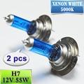 Lâmpadas de Halogéneo H7 55 W Super Branca 2 Peças de Vidro de Quartzo 12 V 5000 K Xenon Farol Do Carro Azul Escuro Auto Lâmpada do bulbo