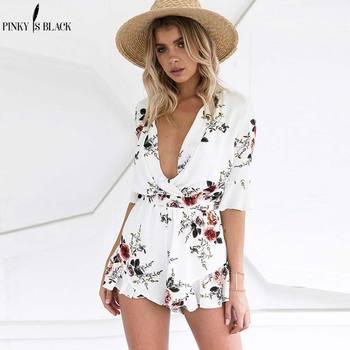 Pinky Is Black Elegant v neck print chiffon jumpsuit romper Elastic waist half sleeve beach overalls women streetwear playsuit