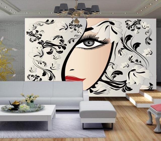 Vinyl Wall Decal Hairdressing Salon Beauty Hair Woman ... |Beauty Salon Wallpaper Designs