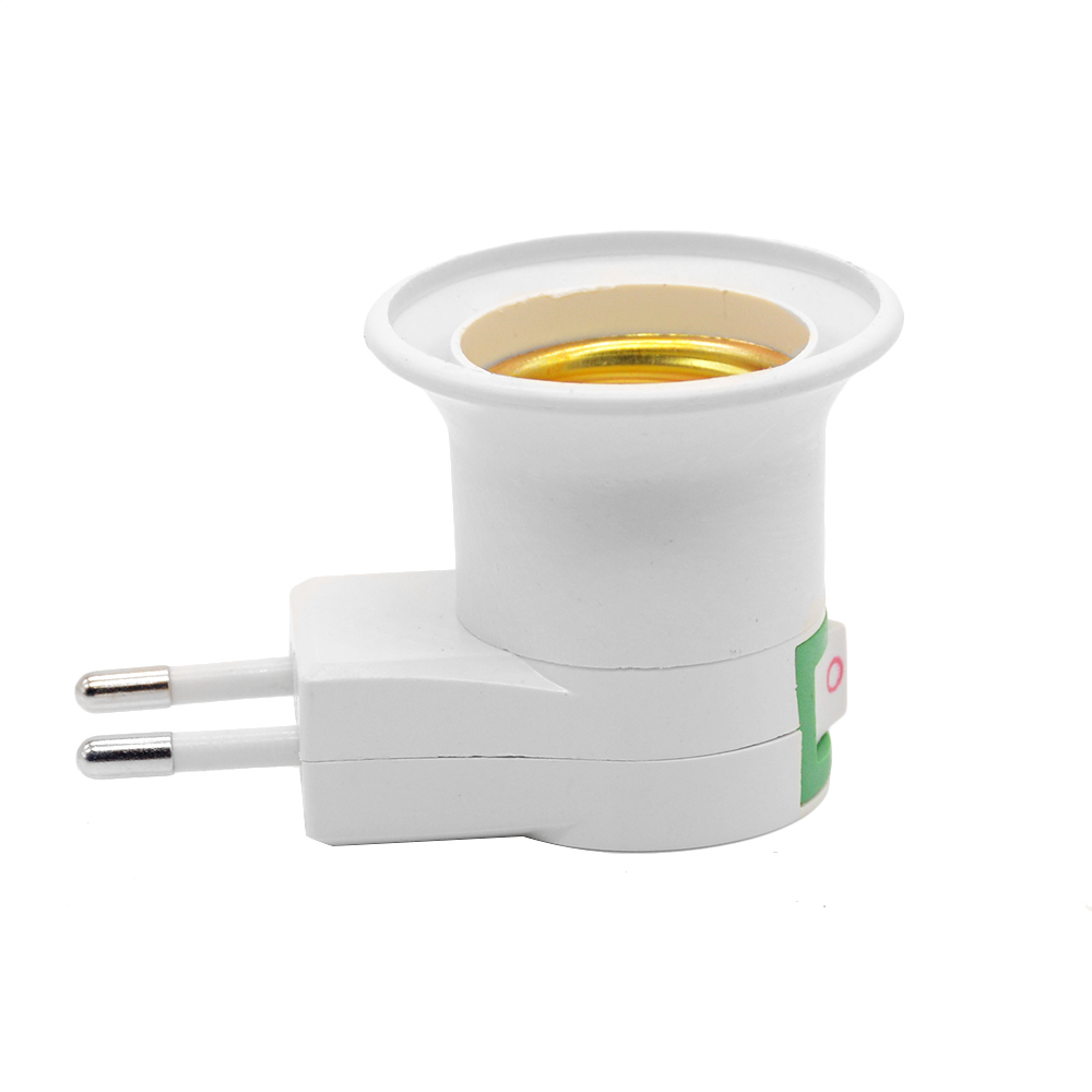1pc E27 EU Round-Foot Socket Type + ON/OFF Mobile Lamp Holder Small Night Lamp Socket  Bulb Adapter Converter