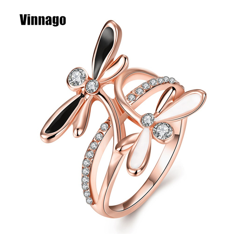Unique Engagement Rings For Women: Unique Engagement Ring Female Rose Gold Plate CZ Butterfly