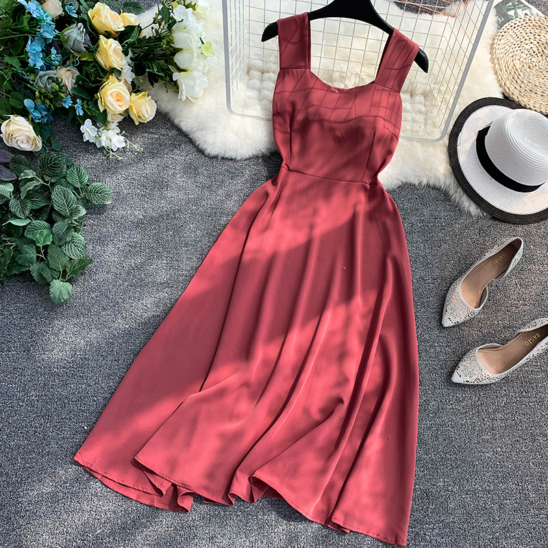 Retro Pure Colour New V collar Sleeveless High Waist Slim Casual Dresses 2019 Women Elegant Vestidos G125