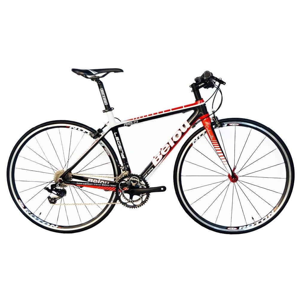 BEIOU 2016 carbone confortable vélos 700C vélo de route LTWOO 2*10 vitesse S R A M frein complet 18.3 lb vélo hybride Fiber CB012