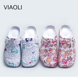 Тапочки хирургические комнатные тапочки доктор резиновые шлепанцы обувь медсестры женские сандалии с принтом и тапочки