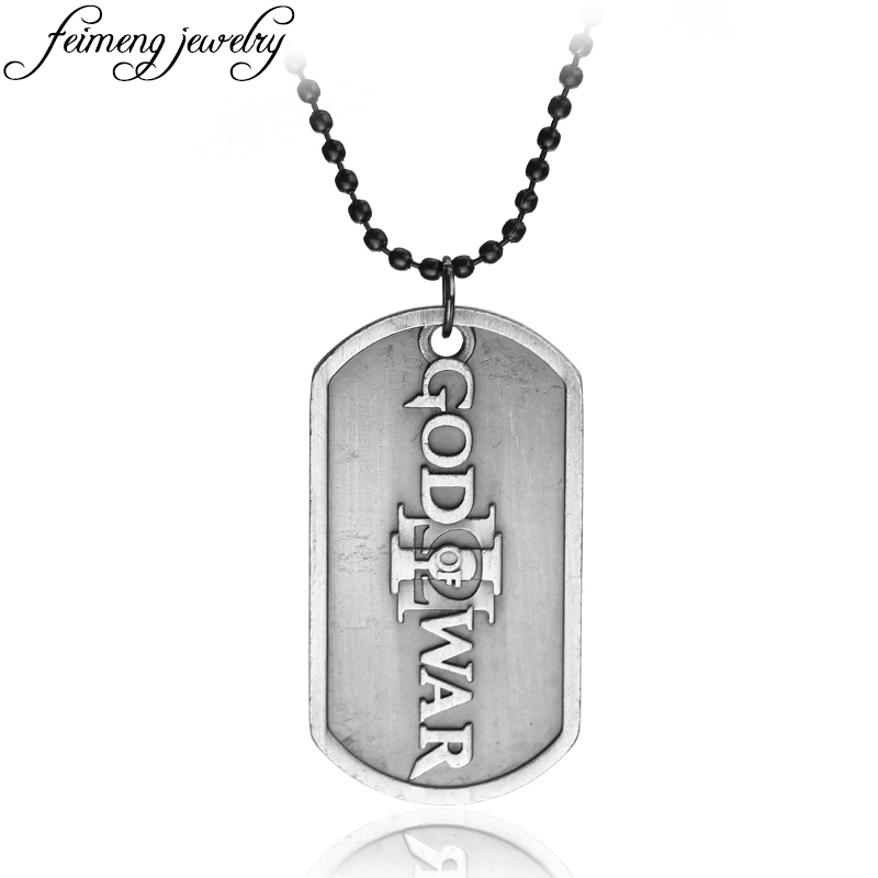 Game Series PS4 GOD OF WAR 3 Necklace High Quality Retro Silvery Dog Tag Pendant Necklace For Women Men Fashion Jewelry Gifts