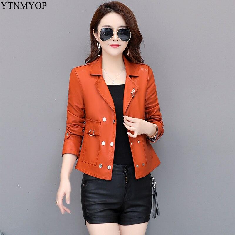 YTNMYOP 2019 Women   Leather   Coat Autumn Outerwear Casual   Leather   Clothing Slim Short Lady   Leather   Jackets