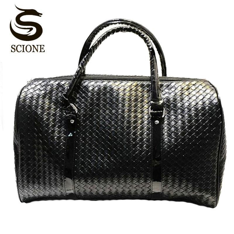 c90f7fb911f2 Black Leather Travel Bag Men/Women Large Luggage Handbag Knitting Pattern  Travel Duffel Bags Big Capacity Duffle Bag PU Totes