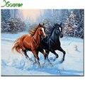Nieve dos caballo bordado 3d diy diamante pintura plaza del diamante del rhinestone del embutido artesanal mosaico de punto de cruz artesanías gt572