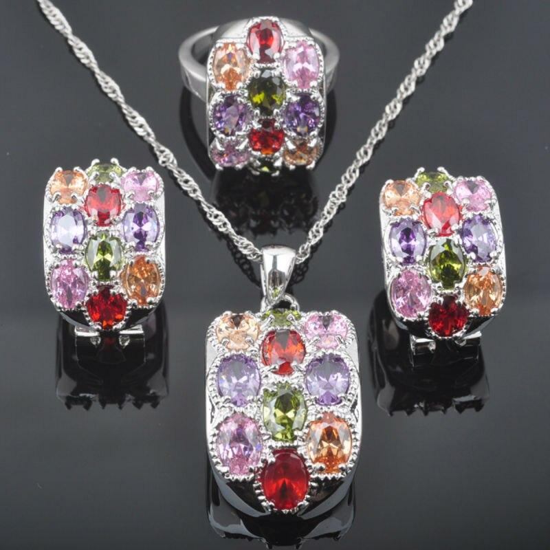 Fahoyo Ungewöhnliche Multicolor Zirkonia Frauen 925 Sterling Silber Schmuck Sets Ohrringe/anhänger/halskette/ringe Qz0522 Brautschmuck Sets