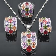 10dca3a290b0 FAHOYO inusual Multicolor Zirconia de las mujeres de la joyería de la plata  esterlina 925 pendientes colgante Collar de anillos .