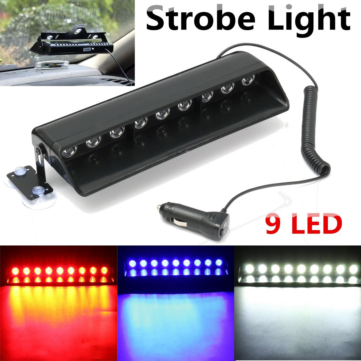 Universal 9 LED Car Emergency Beacon Warning Light Bar 12V LED Dash Strobe Flash Light Hazard SUV Offroad Truck Boat