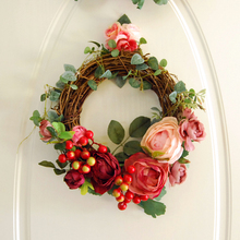 Artificial Silk Flower Wedding Party Home Decoration Floral Door Wreath Wall Hanging Bouquet Decor Christmas Decorative Flowers