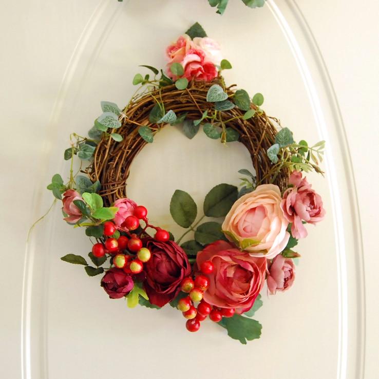 Artificial Silk Flower Wedding Party Home Decoration Floral Door Wreath Wall Hanging Bouquet Decor Christmas Decorative Flowers