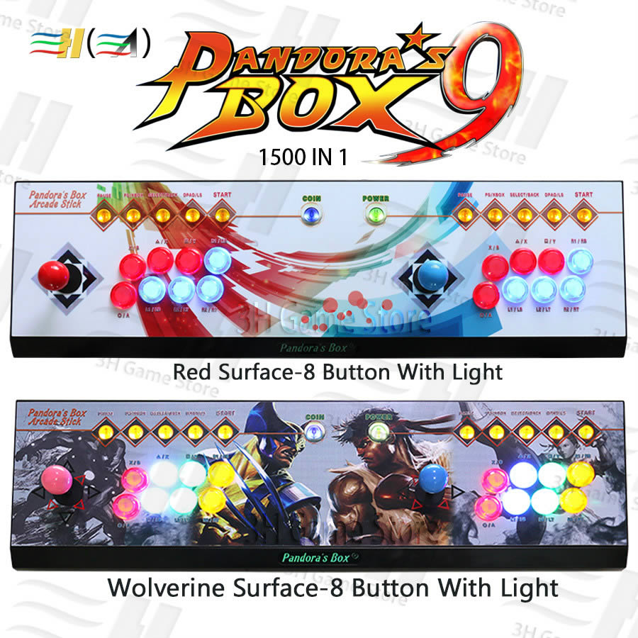 Pandora Box 9 1500 in 1 8 button arcade game console 2 players arcade joysticks led button HDMI VGA usb joystick for pc tv ps3 hot sale video game console kit with double joystick button for gamer arcade tv pc gifts real interactive experience