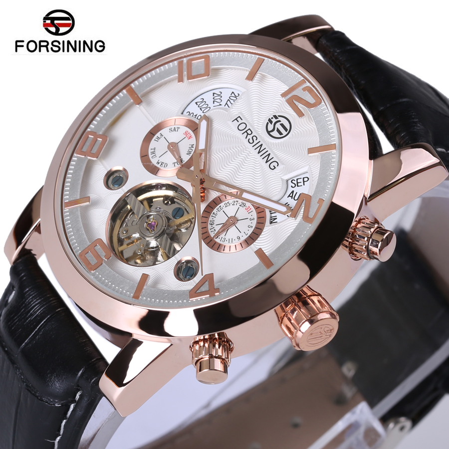 2018 Automatic Watches Rose Gold Case Black Leather Strap White Dial Date Day Year Month Display Men Casual Mechanical Watch ks black dial rose gold stainless steel case date display automatic mechanical fluorescence hands leather strap men watch ks234