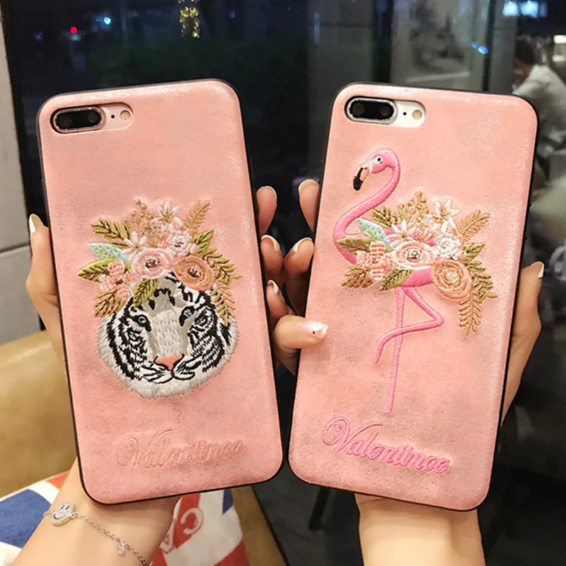 fashion flower tiger head embroidery Flamingo cover for apple iphone 6 6s plus 5.5 iPhone7 7P 8 8P X soft mobile phone case capa