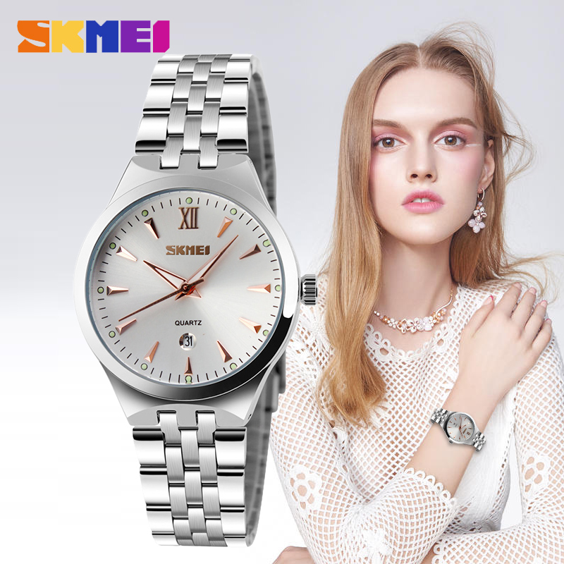 SKMEI Women Quartz Watches Calendar 30M Waterproof Auto Date Wristwatches Top Luxury Brand Full Steel Female Relogio Feminino