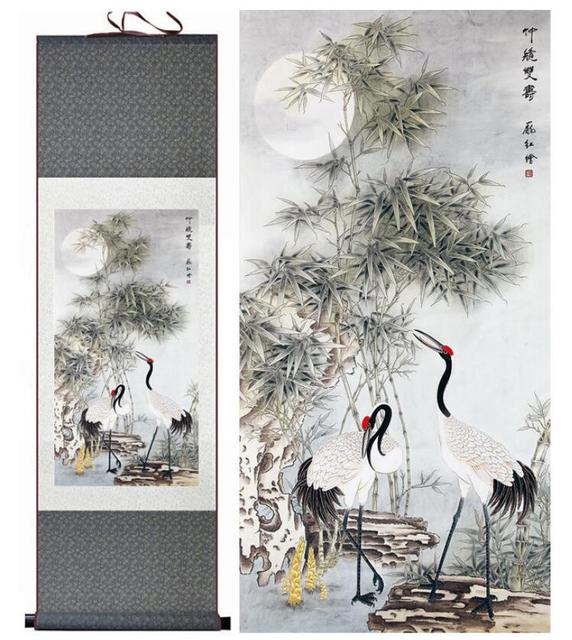 crane painting chinese art painting home office decoration chinese