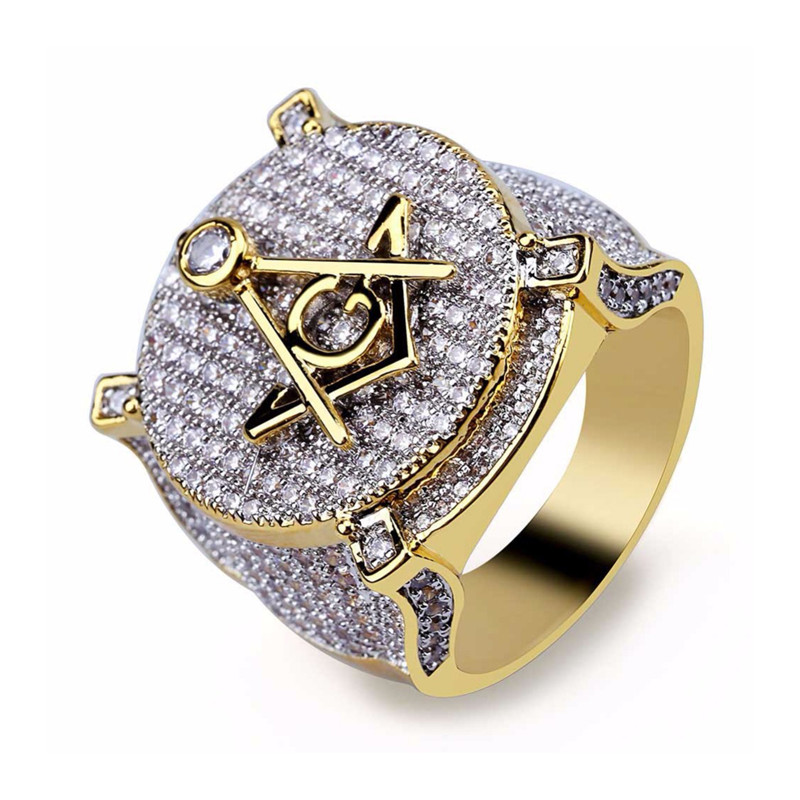 Aaa Cz Zircon Ice Out Bling Big Wide Masonic Ring Gold Filled Copper Material Freemasonry Rings Men Hip Hop Rapper Jewelry 7-13