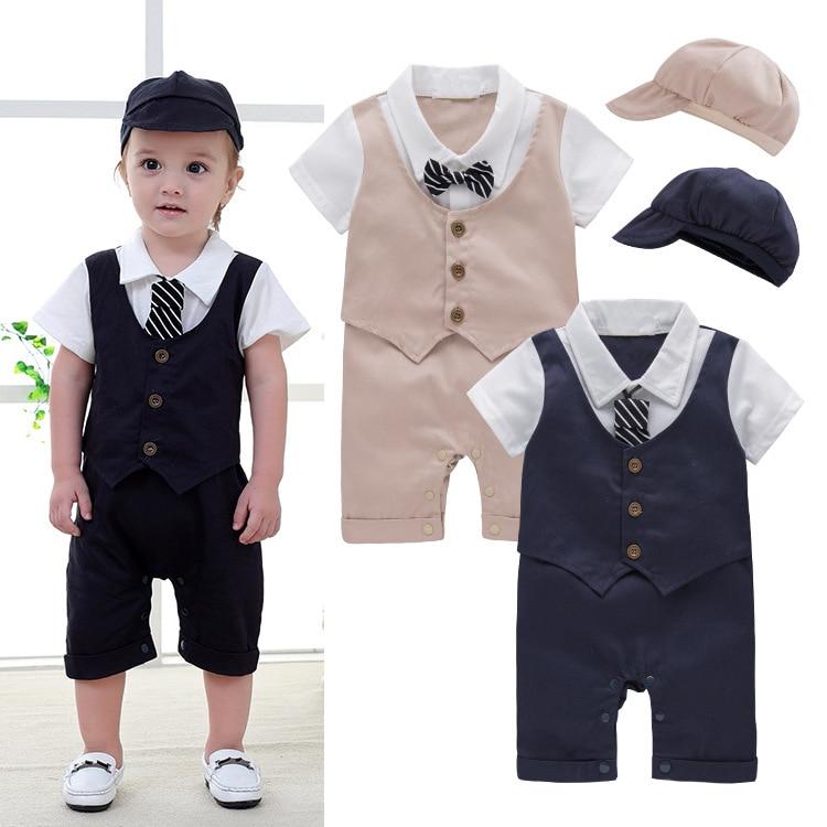 Baby Toddler Boys Gentleman Short Sleeve Faux Vest Tuxedo Romper Jumpsuit with Hat