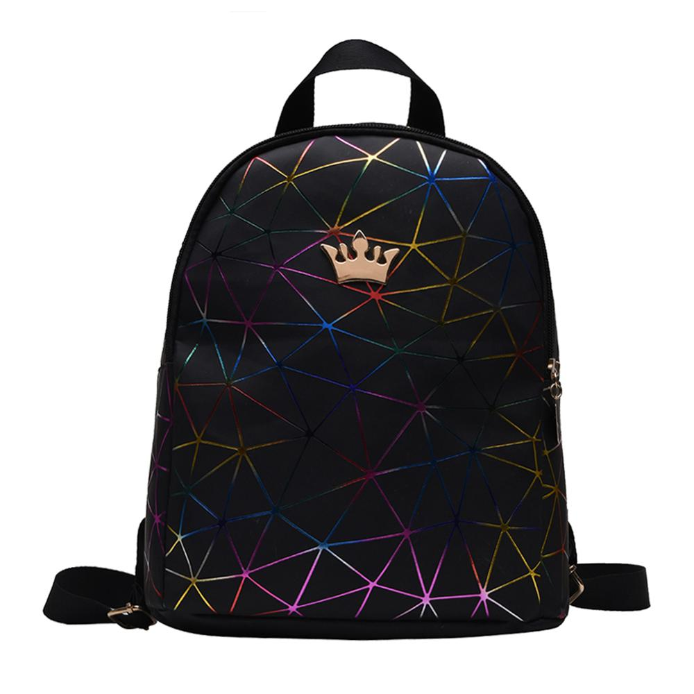 Teen Girls Fashion Geometric Print Crown Decor Travel Backpacks Women Solid Color Laser PU Leather Casual Knapsack Shoulder Bags