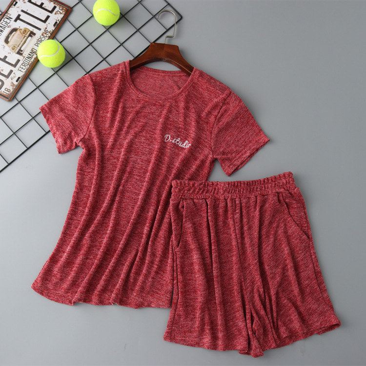 Daeyard Cotton Pajamas For Women Solid Pijamas Summer Short Sleeve T-Shirt And Shorts 2 Pieces Set Solid Sleepwear Home Clothes