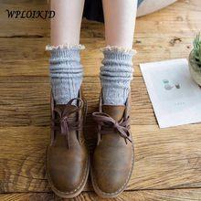 [Wploikjd] bonito doce colorido pilha heap rendas besign oco meias femininas sólidos meias harajuku reto criativo calcetines mujer