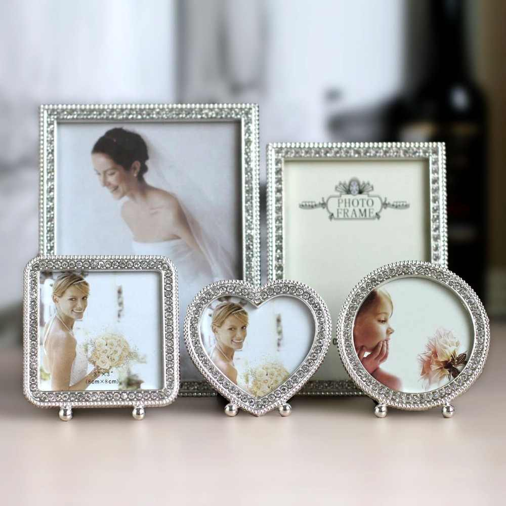 "3"" 7""  6 Inch Wedding Photo Frame Shiny Silver Metal Picture Framework Mirror love Heart shape circle square rectangle"