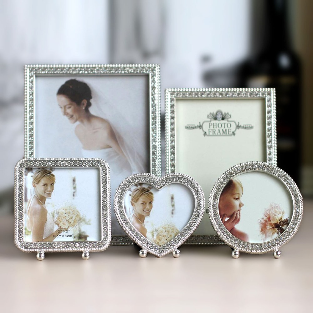 Cheap metal picture frames - 3 7 6 Inch Wedding Photo Frame Shiny Silver Metal Picture Framework Mirror Love