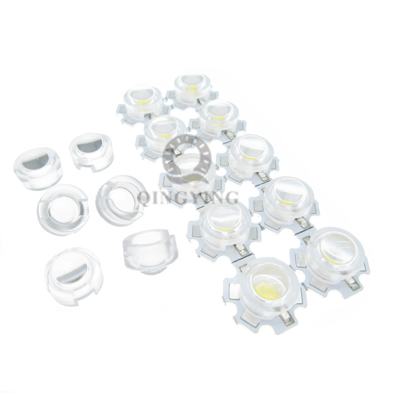 200pcs / lot 13mm mini lente LED 15 30 45 60 90 100 Grado No necesita soporte 1W 3W IR sintético LED Potencia lentes Reflector Colimador