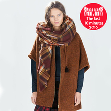 Za Winter Scarf 2016 New Tartan Plaid Cashmere Scarf Pashmina New Designer Blanket Scarf Luxury Brand Women's Scarves and Wraps