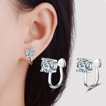 Fashion Jewelry Clip Earrings Comfortable AAA Cubic Zirconia Paved Wedding Silver Plated Ear Exquisite