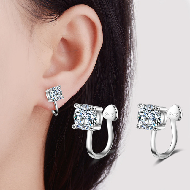 Fashion Jewelry Clip Earrings Comfortable Aaa Cubic Zirconia Paved Wedding Silver Color Ear