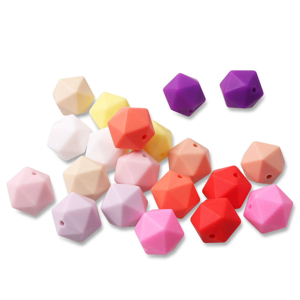 TYRY HU 20pcs lot Baby Teether Teething Beads BPA Free Baby Nursing Teeth Training Toy Silicone Beads 14mm Icosahedron in Baby Teethers from Mother Kids