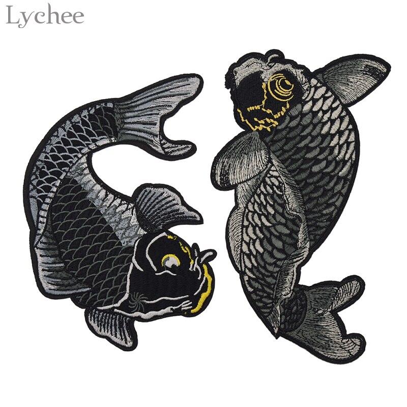 Lychee Life-1 Juego de parches bordados de Koi Fish, parche para ropa de hierro bordado, apliques DIY, accesorios de costura hechos a mano